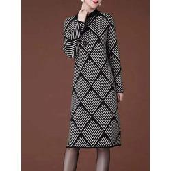 Berrylook High Neck Printed Shift Dress clothes shopping near me, sale, printing Shift Dresses, below the knee dresses, sheath dress