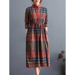 Plaid Long Sleeve High Neck Dress