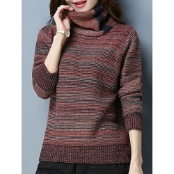 Berrylook Heap Collar Striped Long Sleeve Knit Pullover cheap online shopping sites, clothing stores, Long Pullover, cardigan sweaters for women, sweater hoodie
