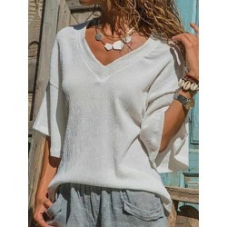 Berrylook V Neck Patchwork Plain Batwing Sleeve Blouses shoping, shoppers stop, one shoulder tops, cute tops for women found on Bargain Bro Philippines from Berrylook for $16.95