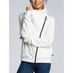Berrylook Casual Sloping Zipper Irregular Collar Pleated Sweatshirts clothing stores, sale, womens zip up hoodies, hoodie shirt