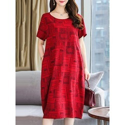 Berrylook Round Neck Patch Pocket Printed Shift Dress cheap online shopping sites, sale, printed Shift Dresses, below the knee dresses, sheath dress