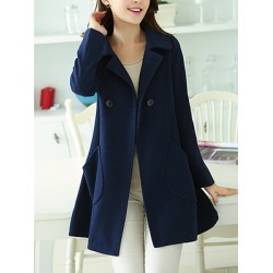 Berrylook Lapel Double Breasted Patch Pocket Plain Woolen Coat sale, cheap online stores, warm jackets for women, long jacket