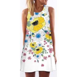 Berrylook Round Neck Printed Shift Dress online sale, sale, Floral Shift Dresses, below the knee dresses, halter dress