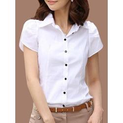 Berrylook Turn Down Collar Plain Short Sleeve Blouse online sale, sale, blouses for women, white shirt womens