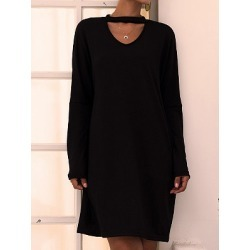 Berrylook V-neck Long Sleeve Solid Color Dress stores and shops, online shopping sites, white shift dress, black long sleeve shift dress found on Bargain Bro Philippines from Berrylook for $20.95
