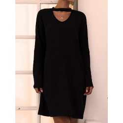 Berrylook V-neck Long Sleeve Solid Color Dress stores and shops, online shopping sites, white shift dress, black long sleeve shift dress found on Bargain Bro India from Berrylook for $20.95