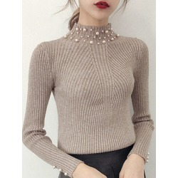 Berrylook High Neck Beading Plain Knit Pullover stores and shops, online shop, knit cardigan, sweaters for women