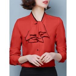 Berrylook Band Collar Elegant Plain Long Sleeve Blouse online sale, shoppers stop, Solid Blouses, white blouses for women, summer tops for women
