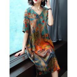 Berrylook V-Neck Printed Shift Dress online sale, sale, printing Shift Dresses, shift dress, halter dress