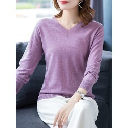 Berrylook V Neck Patchwork Brief Plain Long Sleeve Knit Pullover clothing stores, cheap online shopping sites, cardigan sweaters for women, cardigan sweater