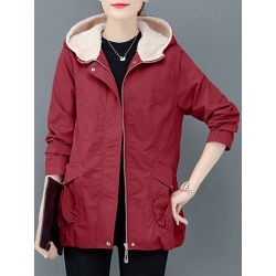 Berrylook Casual solid colour loose plus fleece hooded coat online sale, sale, Solid Coats, coats & jackets, womens winter jackets canada
