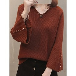 Berrylook V Neck Elegant Plain Beading Long Sleeve Knit Pullover online shop, sale, fall sweaters, long cardigan sweater