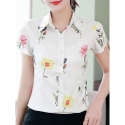 Berrylook Turn Down Collar Printed Blouses clothing stores, clothes shopping near me, white top, red blouse