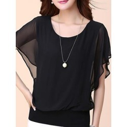 Berrylook Crew Neck Plain Blouses shoping, sale, lace top, white shirt womens found on Bargain Bro from Berrylook for USD $9.57