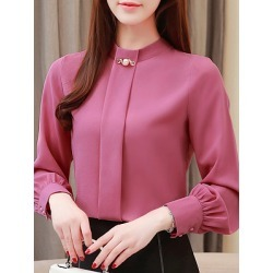 Berrylook Band Collar Elegant Long Sleeve Blouse shoppers stop, online sale, Long Blouses, summer tops for women, silk blouse