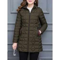 Berrylook Hooded Zipper Plain Coat online sale, sale, military jacket women, warm jackets for women