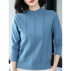 Berrylook Round Neck Elegant Plain Long Sleeve Knit Pullover online sale, stores and shops, cute sweaters, pullover sweater
