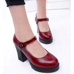 Berrylook Plain Chunky Mid Heeled Round Toe Date Office Pumps clothing stores, clothes shopping near me,