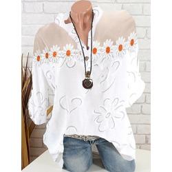 Berrylook V Neck Patchwork Floral Blouse online shop, online sale, splice Blouses, lace top, tops for women