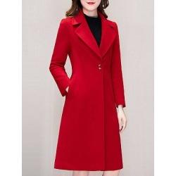 Berrylook Notch Lapel Plain Coat online sale, sale, plain Coats, red leather jacket womens, womens casual jackets