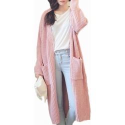 Collarless Slit Pocket Plain Long Sleeve Coats