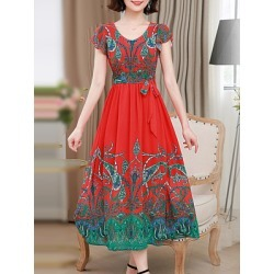 Berrylook Round Neck Print Maxi Dress stores and shops, online stores, semi formal dresses, shirt dress found on MODAPINS from Berrylook for USD $26.95