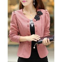Berrylook Collarless Embossed Floral Blazer shop online sale fitted blazer womens blazers for women