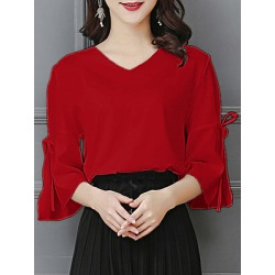 Berrylook V Neck Plain Bell Sleeve Blouse online sale, sale, cute tops for women, off the shoulder tops