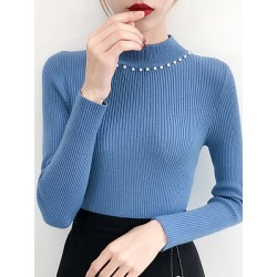 Berrylook Short High Collar Beading Plain Long Sleeve Knit Pullover online sale, shoping, Solid Pullover, oversized sweaters, cardigan sweaters for women