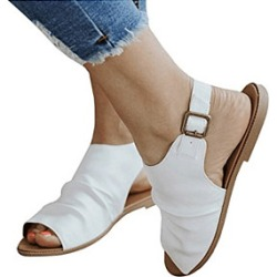Berrylook Plain Flat Ankle Strap Peep Toe Casual Flat Sandals clothing stores, clothes shopping near me,