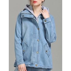 Berrylook Hooded Two Way Light Wash Jacket shop, shoping, Long Jackets, leather jacket with fur, leather jacket