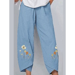 Berrylook Cotton and linen slit printed casual pants sale, clothing stores, found on Bargain Bro Philippines from Berrylook for $24.95
