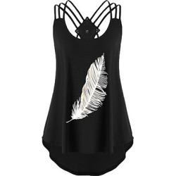 Berrylook Round Neck Feather Sleeveless T-shirt online shop, sale,