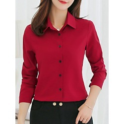 Single Breasted  Plain Turn Down Collar  Blouse found on Bargain Bro India from BerryLook for $17.95