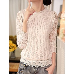 Berrylook Band Collar Embroidered Lace Blouses stores and shops, online shop, peasant blouse, white top found on Bargain Bro from Berrylook for USD $15.92