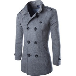 Berrylook Band Collar Double Breasted Vented Plain Men Woolen Coat clothing stores, clothes shopping near me,
