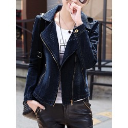 Berrylook Lapel Denim Zips Ripped Light Wash Blazer clothes shopping near me shoppers stop fitted blazer womens blazers for women