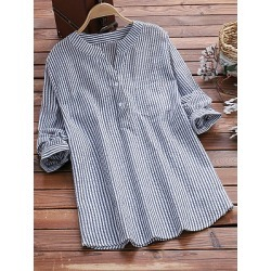 Berrylook V Neck Loose Fitting Stripes Blouses cheap online stores, online shop, womens shirts, one shoulder tops found on Bargain Bro Philippines from Berrylook for $18.95