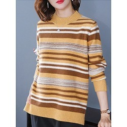 Berrylook Round Neck Elegant Striped Long Sleeve Knit Pullover online sale, shop, stripe Pullover, cardigan, long sweaters