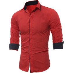 Berrylook Contrast Trim Long Sleeve Men Shirts cheap online stores, fashion store, found on Bargain Bro Philippines from Berrylook for $21.95