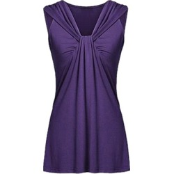 Berrylook V Neck Patchwork Plain Sleeveless T-Shirts cheap online stores, sale, found on Bargain Bro Philippines from Berrylook for $6.95