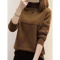 Berrylook Short High Collar Patchwork Brief Plain Long Sleeve Knit Pullover clothing stores, cheap online shopping sites, cardigan sweaters for women, long cardigan