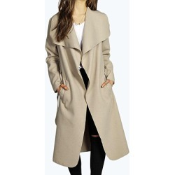 Fold Over Collar Belt Plain Long Sleeve Coats