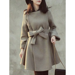 Asymmetric Neck Belt Plain Long Sleeve Coats