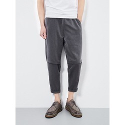 Berrylook Plain Slim-Leg Cropped Men's Casual Pants shop, cheap online shopping sites, Plain Men's Casual Pants,