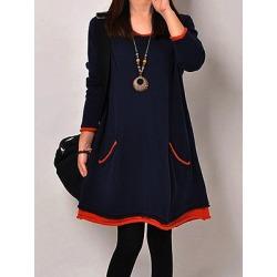 Berrylook Round Neck Patch Pocket Color Block Shift Dress online sale, online, color Shift Dresses, below the knee dresses, tea dress
