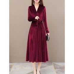 Berrylook V Neck Plain Maxi Dress clothing stores, sale, Solid Maxi Dresses, long red dress, long white dress