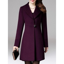 Berrylook Fold-Over Collar Plain Coat online, stores and shops, black coat womens, green blazer womens