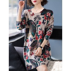 Berrylook Plush Round Neck Long Sleeve Printed Dress stores and shops, online sale, tunic dress, a line dress found on Bargain Bro India from Berrylook for $14.65